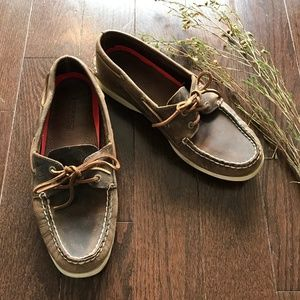SPERRY Top Sider 2 Eye Brown Boat Shoes Sz 8.5W